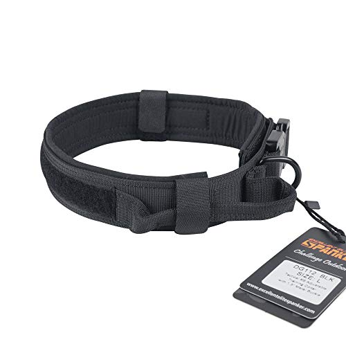 EXCELLENT ELITE SPANKER Tactical Dog Collar Training Nylon Adjustable Military Dog Collars with Control Handle(Black-L)