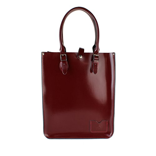 Leather Patent Shopper Bag (The Leather Satchel Company Genuine Leather Tote Shopper Bag Handbag in Patent Oxblood Red)