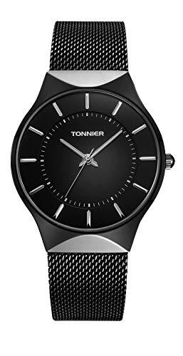 Tonnier Men Watches Black Ultra Thin Stainless Steel Mesh Strap Quartz Watch for Men