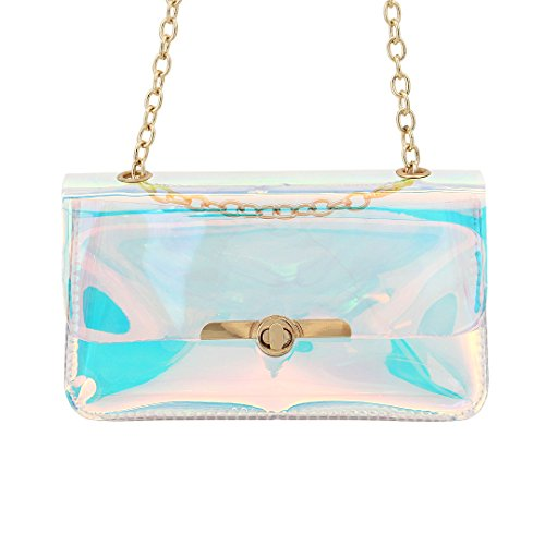 Novias Boutique Women Ladies Fashion Holograhic Shoulder Party Bucket Bag Transparent3