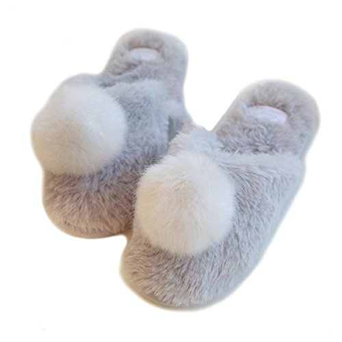 Fortuning's JDS Women Ladies Girls Velvet Cozy Faux Rabbit Fur House Footwear Comfy Grey Slippers with White Pompon 4JY52