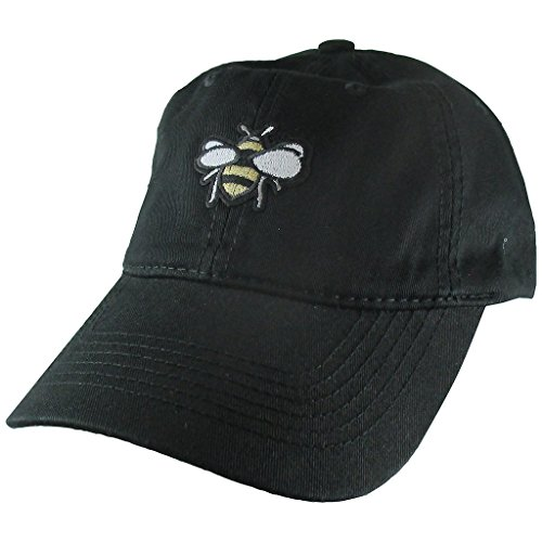 (AffinityAddOns Honey Bee Dad Hat, Black Baseball Cap, Embroidered Patch)
