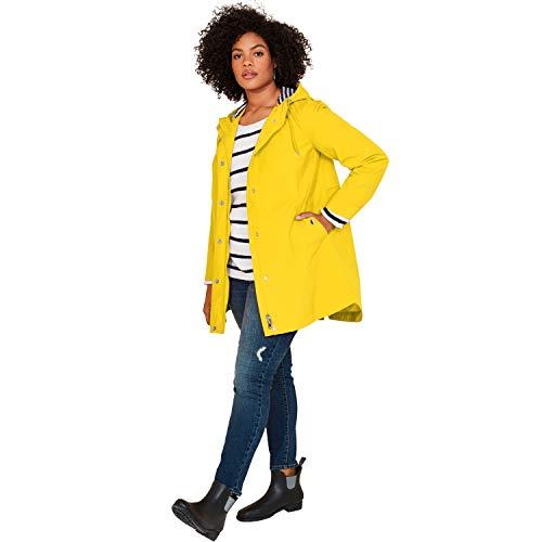 Ellos Women's Plus Size Snap-Front Hooded Raincoat - Vibrant Yellow, 22