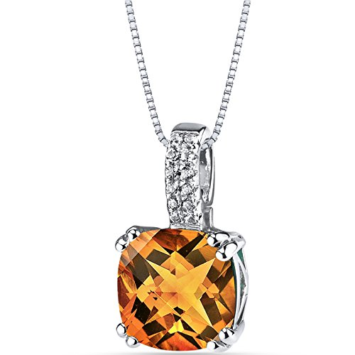 Citrine Cushion Necklace - 14K White Gold Citrine Pendant Cushion Checkerboard Cut 2.75 Carats