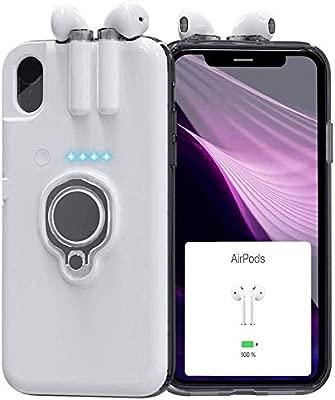 JJ-TECH Funda Cargador portatil para Airpods Compatible con iPhone 6/6P/7/7P/8/8P/X/XS/XR/XSMAX (X/XS, Blanco)