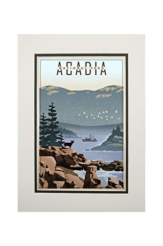Acadia National Park, Maine - Lithograph (11x14 Double-Matted Art Print, Wall Decor Ready to Frame)