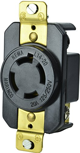 (Marinco Power Products 2014R 20A 125/250V 3P 4W (L14-20R) Standard NEMA Locking Receptacle - White Body in A Black Housing)