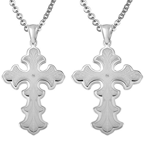 Daesar 2PCS His & His Matching Set Necklace Stainless Steel CZ Christian Cross Flower With - Online Dries Noten Van