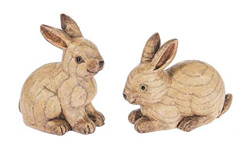 SpringGz Bunny Carved Look Natural Brown 5 x 4 Resin Stone Collectible Figurines Set of 2