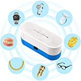 Ultrasonic Cleaner, Swee Mini Cleaning Machine 300ml Tank for Jewelry Eyeglass Watches Business Commercial Home Use (Blue)