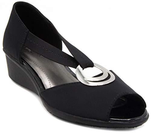 London Fog Womens Cloud Dress Shoe Black/Neoprene 7.5