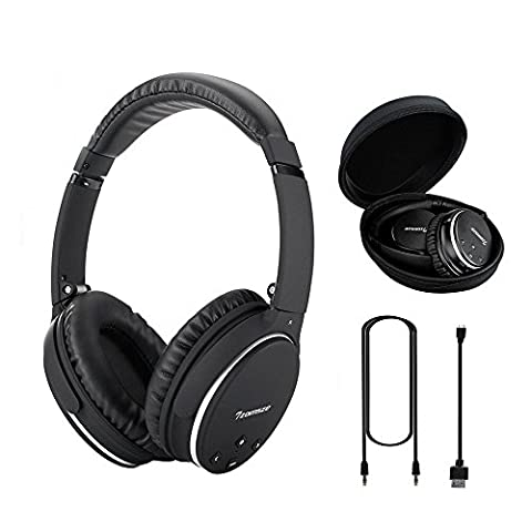 Active Noise Cancelling Headphones Tzomsze Wireless Bluetooth Over-ear Stereo Headset for Sports/Office/Airplane/Travel with Microphone Detachable Cable &Carrying Case - (Over Ear Headphones Blue Tooth)