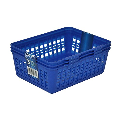 Stor-All Solutions Multi-Purpose Everyday Organizer Style Storage Baskets and Bins, 3 Pack, Small, Blue by Stor-All Solutions
