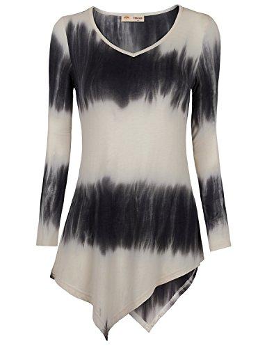 Timeson Womens Tie Dye Handkerchief Hem Long A-line Tunic Top Large White Black
