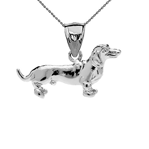 Solid Sterling Silver Dachshund Charm Pendant Necklace with 18