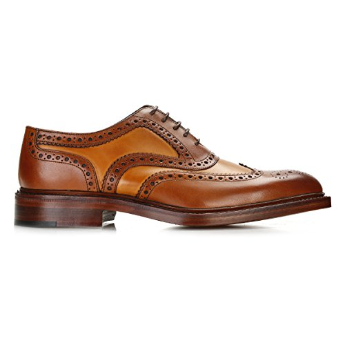 Loake Hommes Cognac/Mahogany Funnelweb Brogue Chaussures