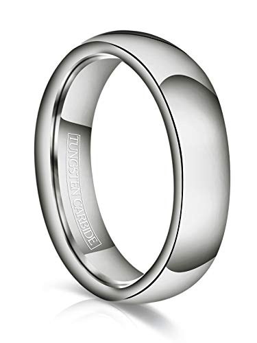 - Just Lsy 6mm Tungsten Wedding Band Ring Men Women Plain Dome High Polished Comfort Fit Size 10.5