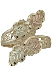 10k Yellow Gold Scrollwork Fancy Bypass Ring with 12k Green and Rose Gold Hand Sculpted Grape Leaves, Sizes 4, 4.5, 5, 5.5, 6, 6.5, 7, 7.5, 8, 8.5, 9