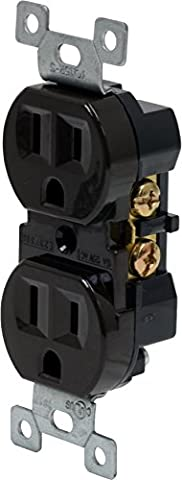 GE 17805 Grounding Duplex Receptacle with Fast Easy Pressure-Lock Wiring, Brown (Ge 12 Outlet Surge Protector)