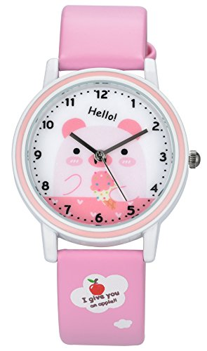 Leather Watch Pink (Watch for Kids Children Watches Pink Leather Band Quartz Wristwatches for Boys and Girls Cute Cartoon Pig Simple Design Good Gifts for Childrens)