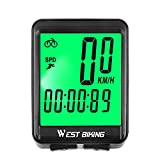 WESTGIRL Bike Computer, Large Digit Automatic Wake-up Cycle Speedometer with LCD Backlight, Multi-Function Waterproof Bicycle Odometer Cycling Accessories, Wireless & Wired