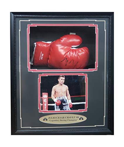(Julio Cesar Chavez Sr Autographed Hand Signed Boxing Glove Shadow Box Frame 26