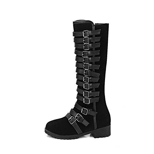 AllhqFashion Damen Hoch-Spitze Reißverschluss Niedriger Absatz Stiefel mit Metallisch, Schwarz, 37
