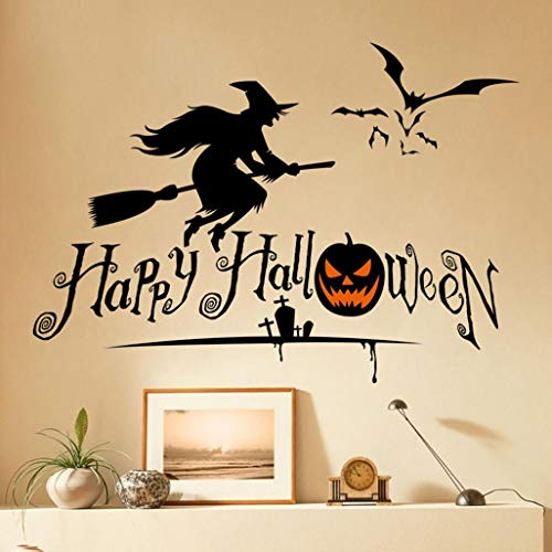 Happy Halloween Pumpkins Spooky Cemetery Witch and Bats Tomb Wall Decals Window Stickers Halloween Decorations for Kids Rooms Nursery Halloween Party -