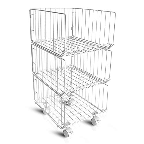 Storage Organizer,Metal Wire Baskets,3 Tiers Stackable Rolling Cart Baskets with 4 Wheels DIY Storage Shelves Organizer for Bathroom Bedroom Kitchen Living Room Office
