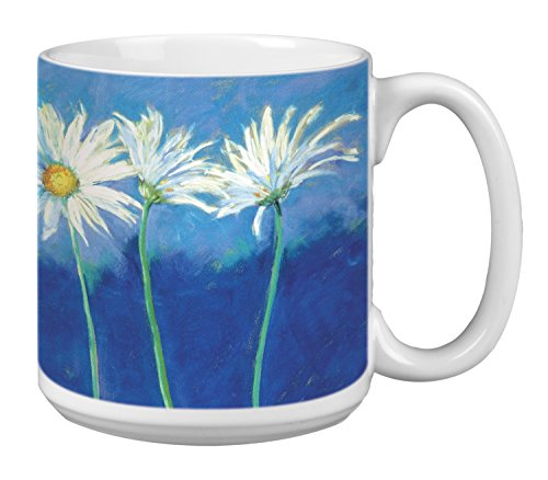 Tree-Free Greetings Extra Large 20-Ounce Ceramic Coffee Mug, Daisies On Blue Themed Nel Whatmore Art (XM29585) - Daisy Coffee Cup
