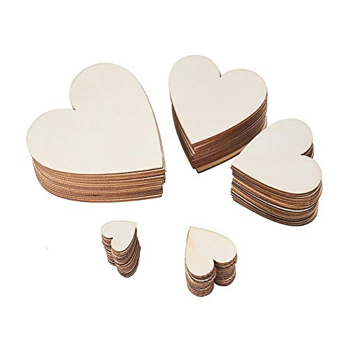 200 Pieces of 5 Assorted Wooden Hearts to paint. Sizes up to 3.25 Inches