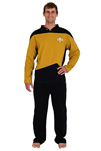 Star Trek The Next Generation STNG Gold Operations Uniform Pajamas Set - S ()