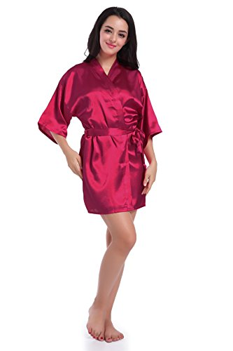 SexyTown Women's Short Satin Lounge Robes Bridesmaids Charmeuse Lingerie Sleepwear(Small,Wine Red)