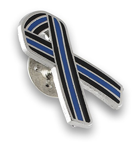 Forge Thin Blue Line Ribbon Police Support Enamel Lapel Pin (5 Pins)