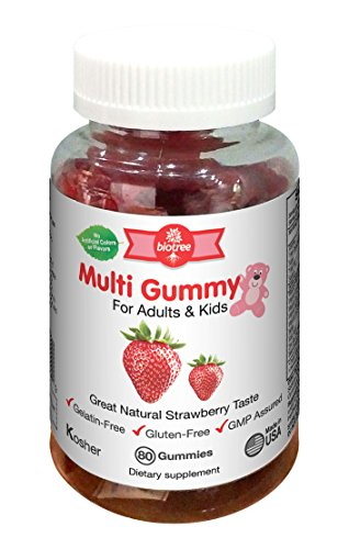Biotree Labs Gummy Multivitamins for Adults & Kids - Delicious Natural Strawberry Gummy Bear Vitamins - Kosher Certified Gluten Free No Artificial Flavors or Colors