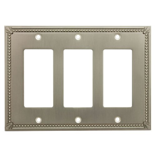 (Cosmas 44095-SN Satin Nickel Triple GFI / Decora Rocker Wall Switch Plate Switchplate Cover)