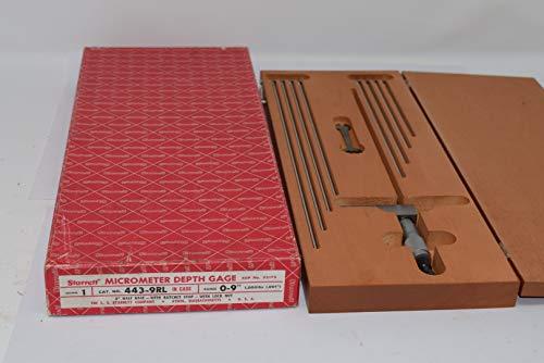 Starrett 443-9RL Micrometer Depth Gage with Half Base 0-9'' 52175
