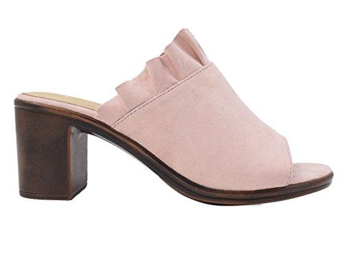 Faux Toe Mules Clogs Sandals Nude Block MaxMuXun Women Suede Heel Shoes Mid Open Suede ExUYAqP