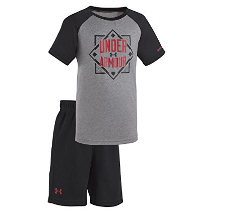 (Under Armour Baby Boys' 2-Piece Release The Beast T-Shirt & Shorts Set (24 Months, Lead_Off_Home_Plate (27C72064-02)/True Grey Heather))