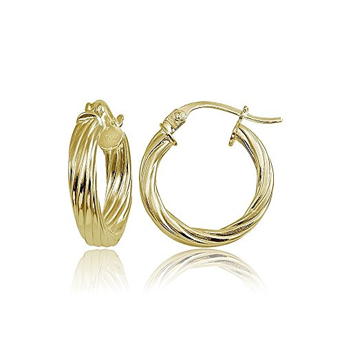 Hoops & Loops Gold Flash Sterling Silver 3mm Twist Design Polished Hoop Earrings, 15mm
