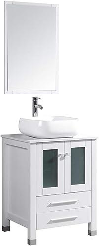 24 Inch White Bathroom Vanity Modern MDF Cabinet