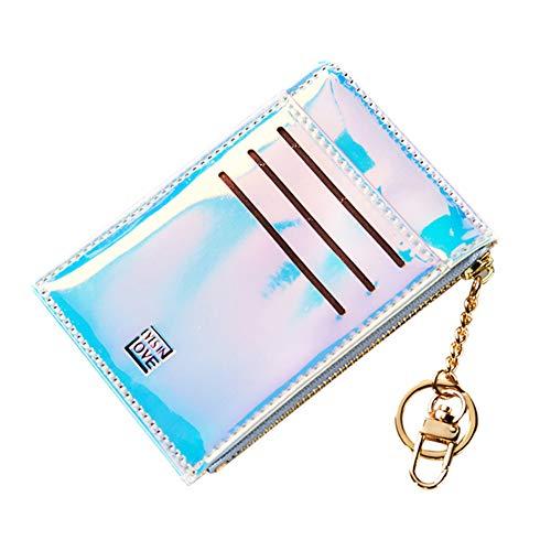 lightclub Fashion Faux Leather Women Coin Purse Wallet Card Cash Holder Zipper Bag with Keychain Blue