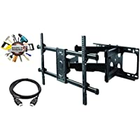 ELITE MOUNT - Heavy Duty Dual Arm Articulating TV Wall Mount Bracket + High Speed HDMI Cable for UN49KS8000, Titling Wall - Swivel TV Wall Mount Bracket Mount Bracket - Reduced Glare - Buy Smart!
