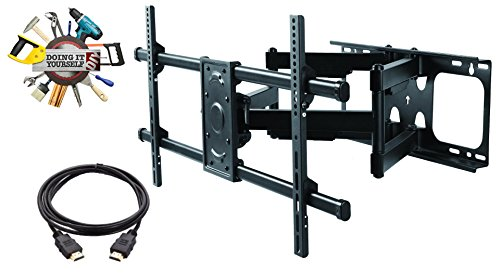 [ELITE MOUNT - Heavy Duty Dual Arm Articulating TV Wall Mount Bracket + High Speed HDMI Cable for 50
