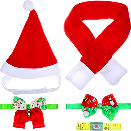 Dog Pet Collar Ribbon Christmas (Jovitec 5 Pieces Christmas Pet Costume Accessory Set, Include Santa Hat, Scarf, Christmas Bow Tie Collar, Ribbon Bow Tie Collar with Bell and Ruler Tape for Pet Christmas Outfit (S Size))