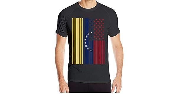 Código de Barras EE. UU. Bandera de Venezuela Camiseta de Manga Corta para Hombre Tops de Secado rápido: Amazon.es: Ropa y accesorios