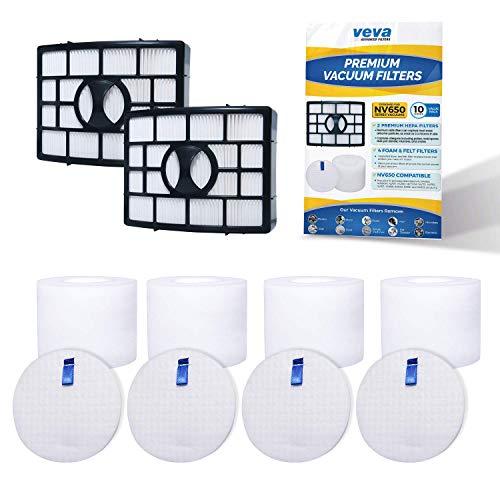 (VEVA Premium Vacuum Filter Set with 2 HEPA, 4 Foam, 4 Felt Filters for Shark Rotator Navigator Duoclean Lift-Away Upright Model NV650, 650W, 651, 652, 750W, 751, 752, 831, 835; AX950, 951 & 952)