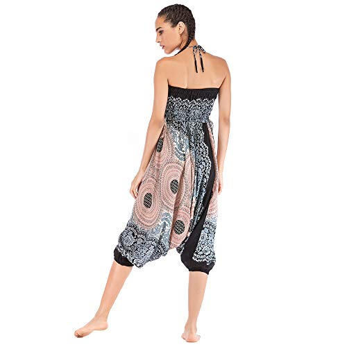 Harem Pants Women's Hippie Bohemian Yoga Pants One Size Aladdin Harem Hippie Pants Jumpsuit Smocked Waist 2 in 1 (Free, White) by BingYELH Yoga (Image #2)
