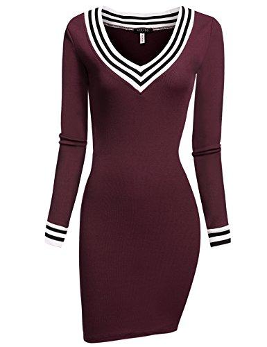 ACEVOG Women's V-Neck Long Sleeve Slim Fit Knit Sweater Bodycon Mini Dress (X-Large, Wine Red)