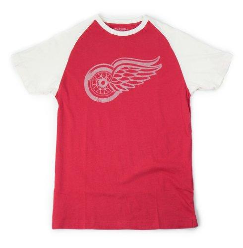NHL Men's Detroit Red Wings Paratrooper Two-Tone Short Sleeve Raglan Tee (Red/Cream, XX-Large)